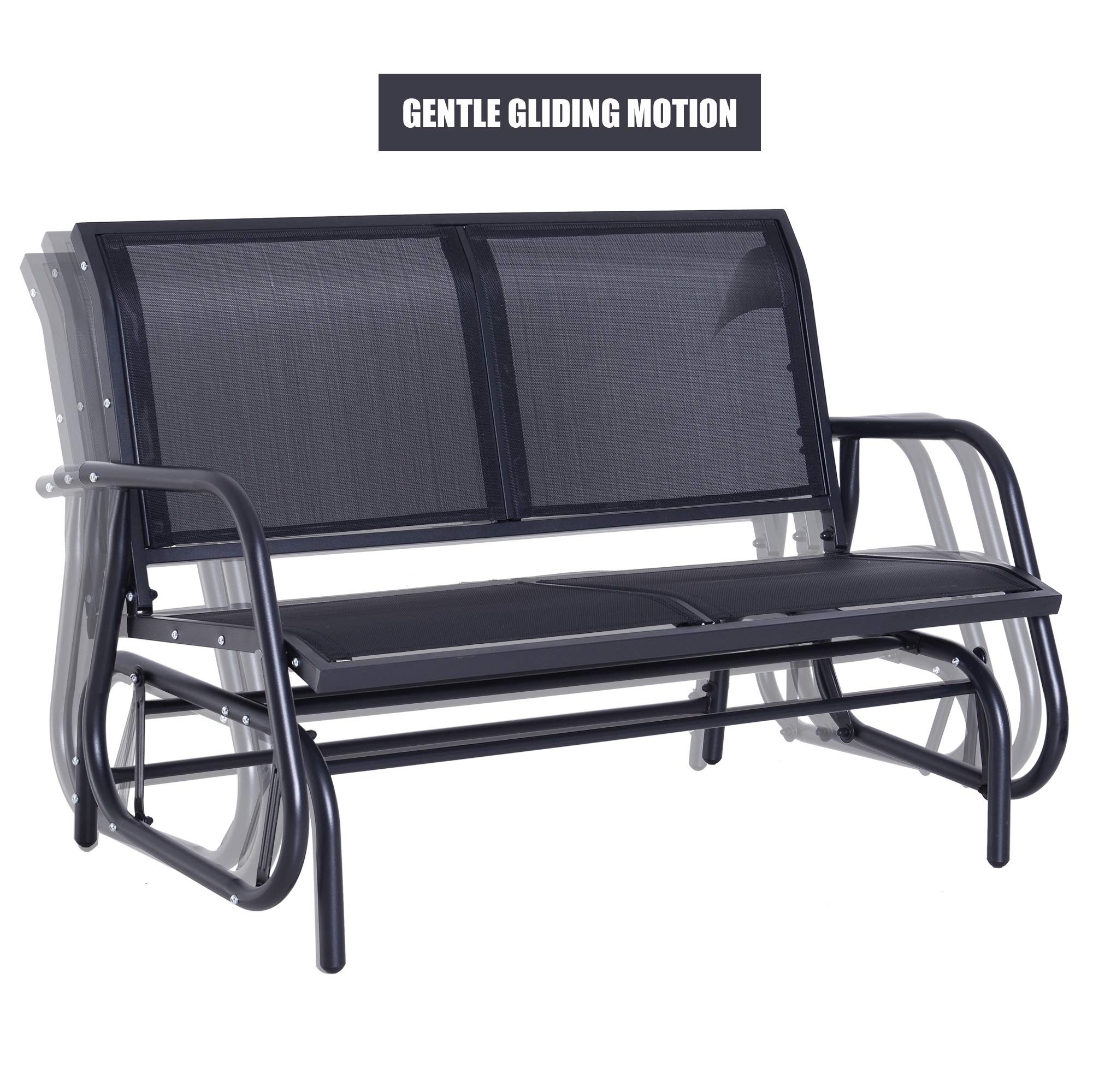 Outsunny 48'' Outdoor Patio Swing Glider Bench Chair - Dark Gray by Outsunny (Image #2)