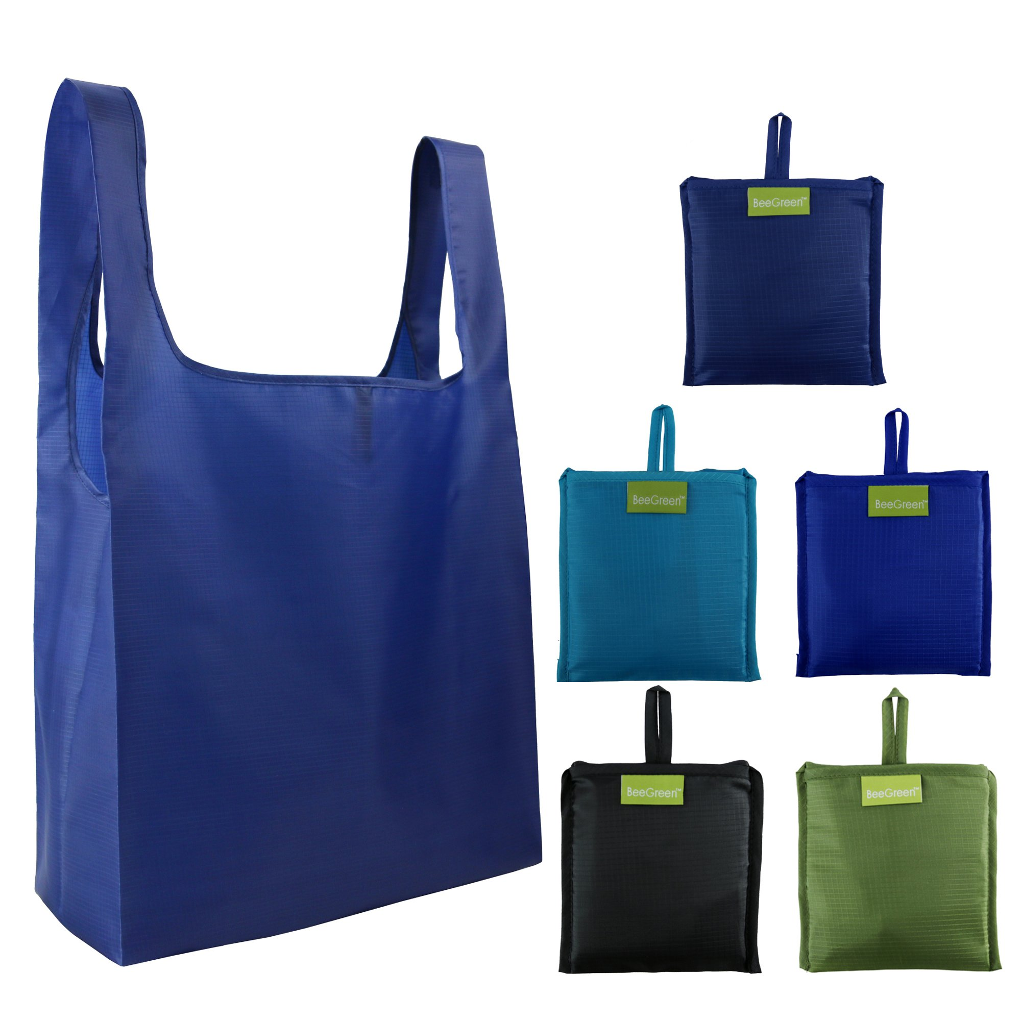 Reusable Grocery Bags 5 Pack, Grocery Tote Folded into Attached Pouch, Ripstop Polyester Shopping Bags, Washable, Durable and Lightweight (Black,Royal,Navy,Teal,Moss)