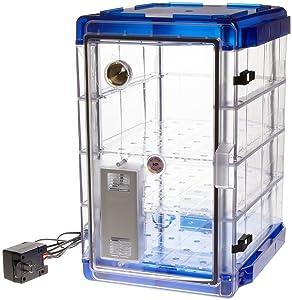 Bel-Art Secador Vertical Profile Clear 4.0 Auto-Desiccator Cabinet with Blue End-Caps; 120V, 1.9 cu. ft. (F42074-1116)