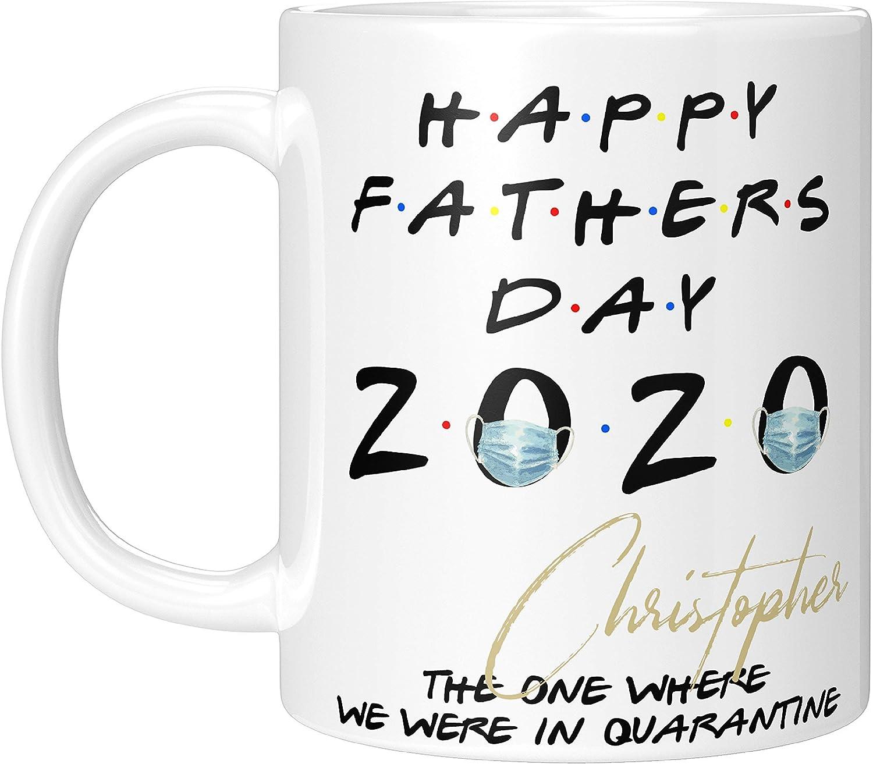 Tazas de café personalizadas para los papás - Mejor papá de 2020, taza de café para hombres con nombre - Regalos de cuarentena para el padre - El lugar donde estuvo en cuarentena - Regalos personaliza