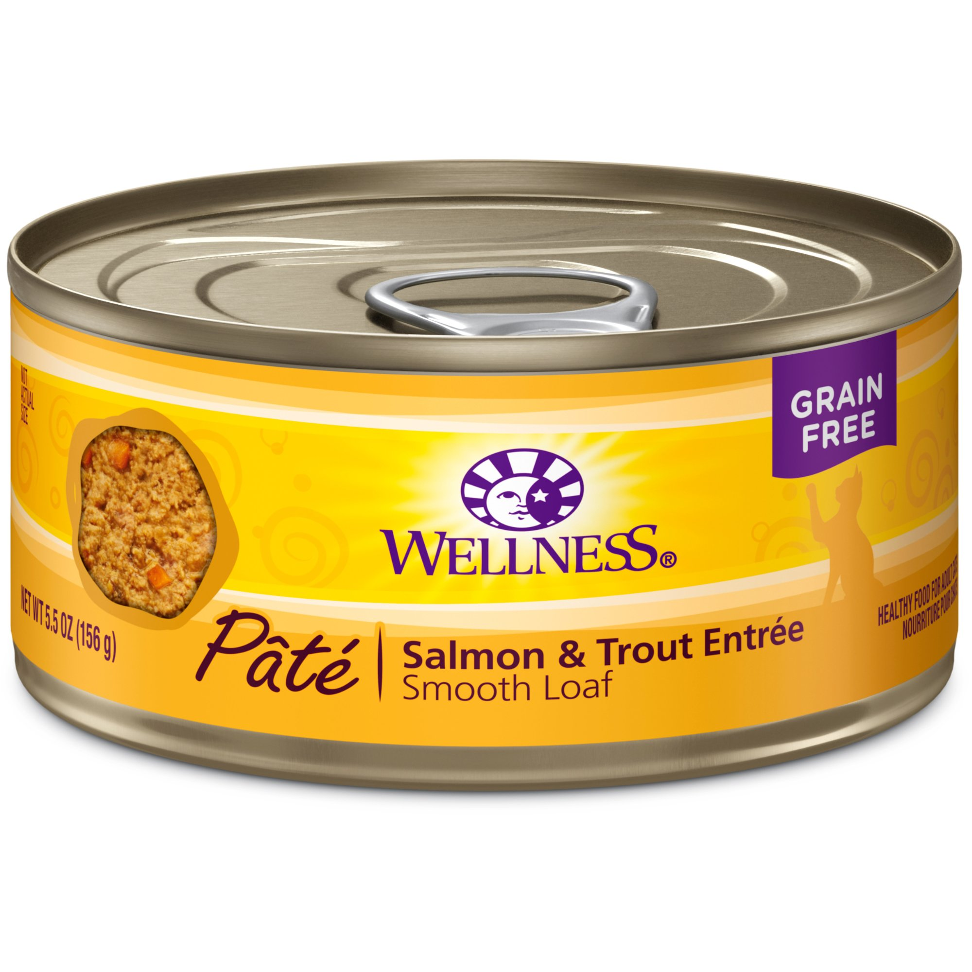 Wellness Natural Grain Free Wet Canned Cat Food, Salmon & Trout Pate, 5.5-Ounce Can (Pack Of 24) by Wellness Natural Pet Food