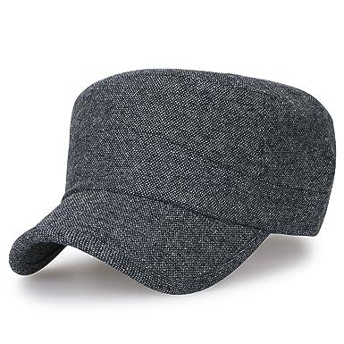 b65532e524e ililily Large Size Solid Color Military Army Hat Wool-Blend Vintage Cadet  Cap