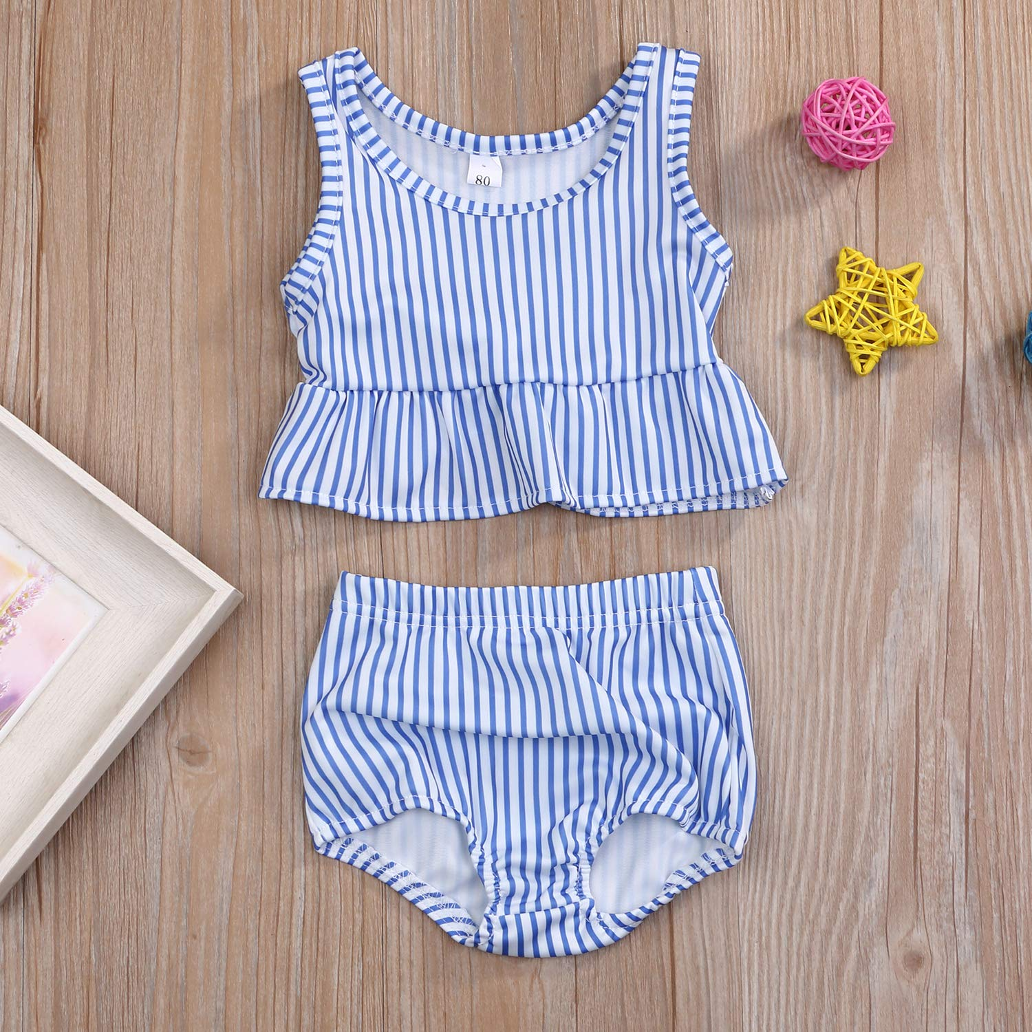 YOUNGER TREE Toddler Baby Girls Summer Swimsuit Sleeveless Striped Swimsuit Two-Piece Suit
