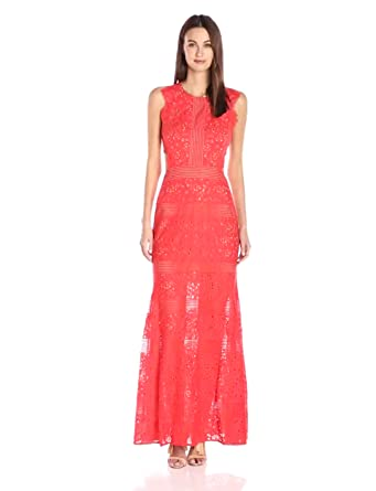 BCBGMax Azria Women's Merida Knit Evening Dress, Bright Poppy, 8
