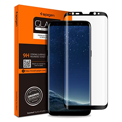 watch af2f6 b27eb Spigen Galaxy S8 Screen Protector Curved Edge/Tempered Glass/Case Friendly  for Samsung Galaxy S8