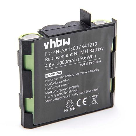 vhbw NiMH batería 2000mAh (4.8V) para tecnología médica como estimulador Muscular Compex Mi-Sport, Performance Mi-Ready, Performance US