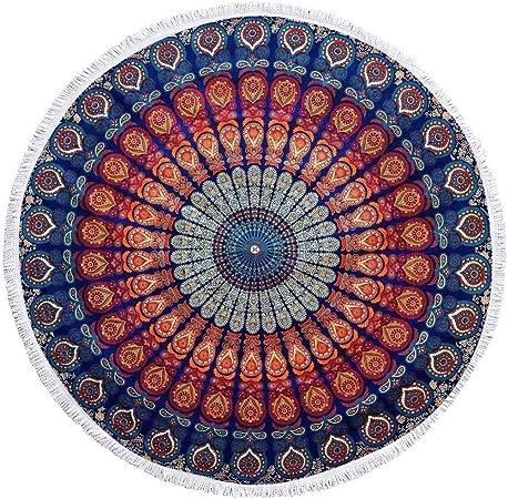 GLOBUS CHOICE INC. Tapiz Redondo de Borla pequeña para Colgar en la Pared, Mandala, de algodón Indio, diseño Redondo de Hippie (72 Pulgadas): Amazon.es: Hogar