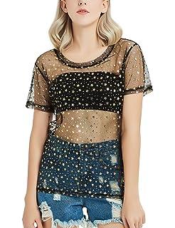 07322627cbbe 2019 Dresses Womens Star and Moon Splicing Sheer See Through Shirt ...