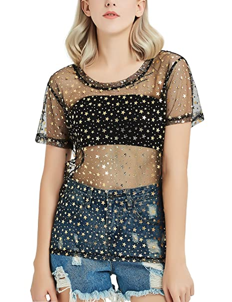 811850ebdef Perfashion Women's Sexy Glitter Mesh Sheer See Through Short Sleeve Tee  Shirt Tops Blouse Black