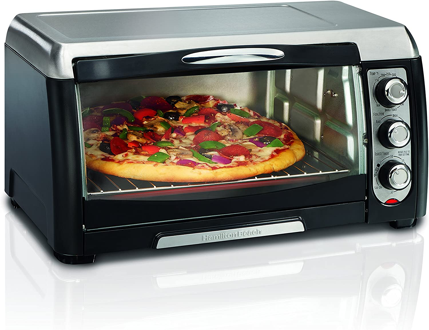 Hamilton Beach Countertop Toaster Oven, 6-Slices, Includes Bake Pan and Broil Rack, Black (31330D)