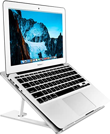 SOUNDANCE Adjustable Laptop Stand Compatible with Mac MacBook Pro//Air and 12-15.6 Inches Notebook Portable Foldable Ergonomic Desktop Stand Holder Eye Level Ergonomic Design Laptop Stand