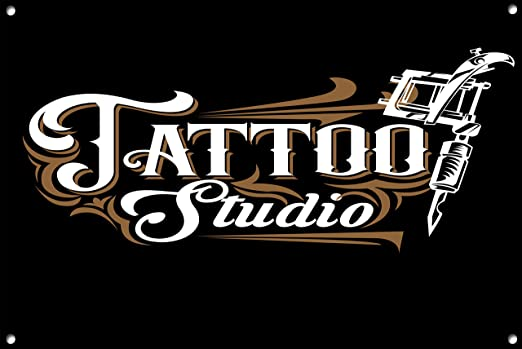 Tattoo Studio Metal Sign, Moderno, diseño de Cartel, Negro ...