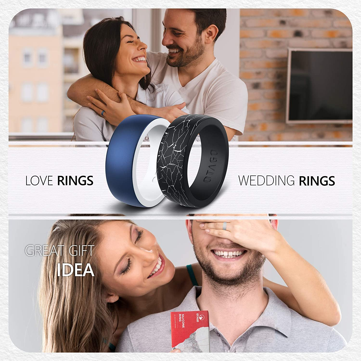Size5-12 OTAGO Silicone Rings Wedding Bands for Women Men,8 Packs Colorful Rings Soft and Safe for Sports,Housework,Comfortable Fit,Fashion Style-Metal and Vivid Matte Colours