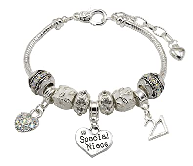 Special Niece 21st Birthday Charm Bracelet With Gift Box Womens Jewellery