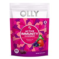 Olly Active Immunity Gummy Supplement with Elderberry, Zinc, Vitamin C, Immune Support...