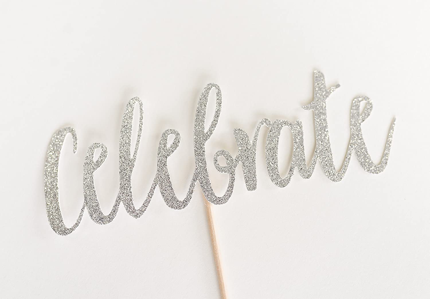 Silver Glitter Celebrate Cake Topper, Celebration, Party, Congratulations