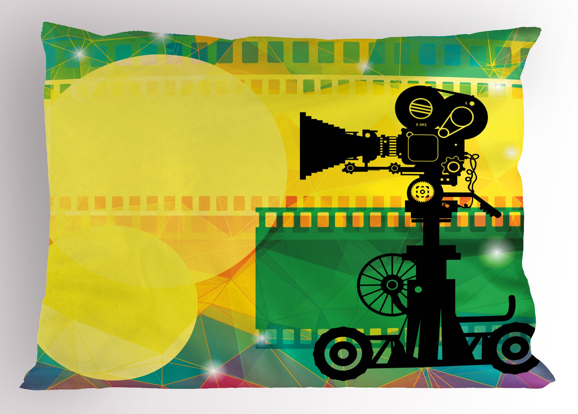 Ambesonne Movie Theater Pillow Sham, Abstract and Vibrant Colored Composition with Strips Projection Silhouette, Decorative Standard Size Printed Pillowcase, 26 X 20 inches, Multicolor