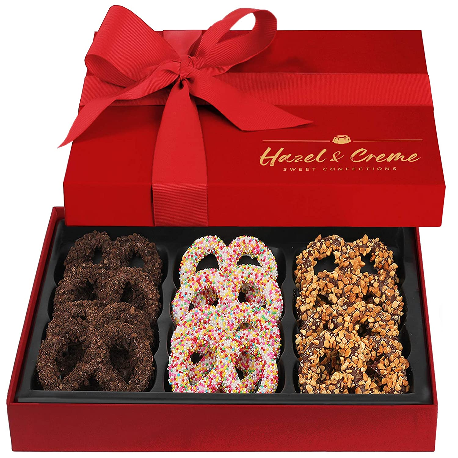 Hazel & Creme Chocolate Covered Pretzel Gift Box - Gourmet Food Gift - Birthday, Corporate, Holiday Gourmet Gift