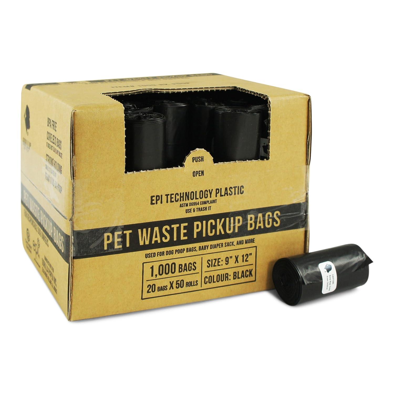 Gorilla Supply 1000 Black Dog Pet Poop Bags, EPI Technology, 50 Refill Rolls