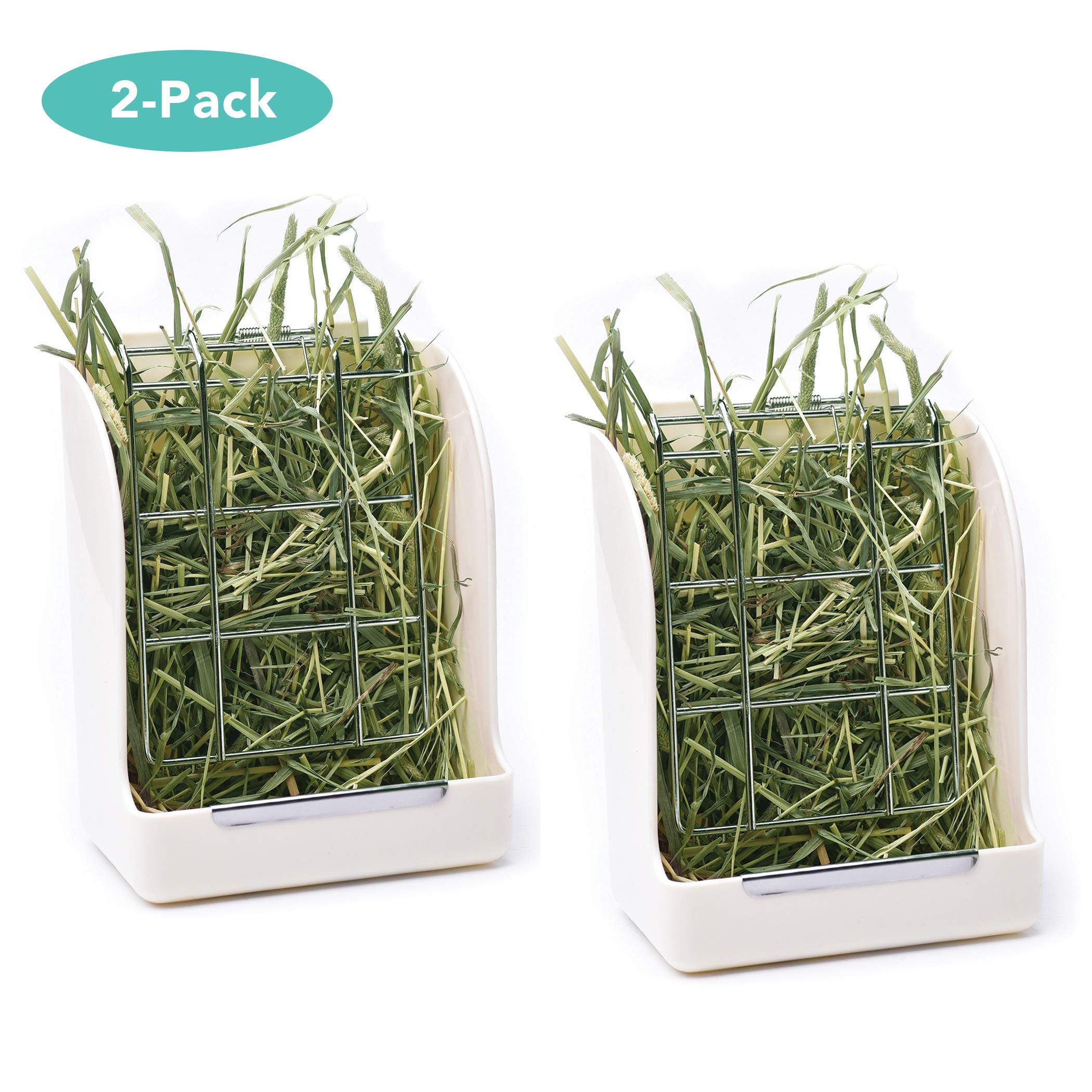 CalPalmy (Upgraded 2-Pack) Hay Feeder/Rack - Ideal for Rabbit/Chinchilla/Guinea Pig - Keeps Grass Clean & Fresh/Non-Toxic, BPA Free Plastic/Minimizing Waste/Mess by CalPalmy (Image #1)
