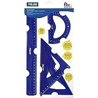 Milan 359801 Mavi 4'lü Geometri Cetvel Seti - Blister Ambalaj