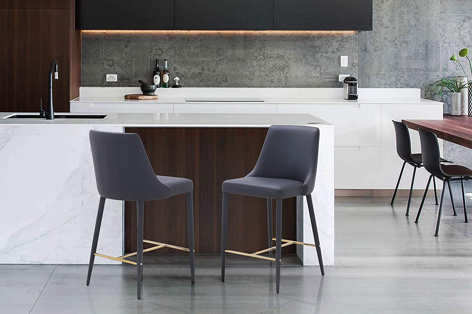 Iconic Home Arwen Counter Stool Chair PU Leather Upholstered Swoop Arm Seat Gold Tone I-Shaped Metal Base Wood Legs Modern Transitional, Grey