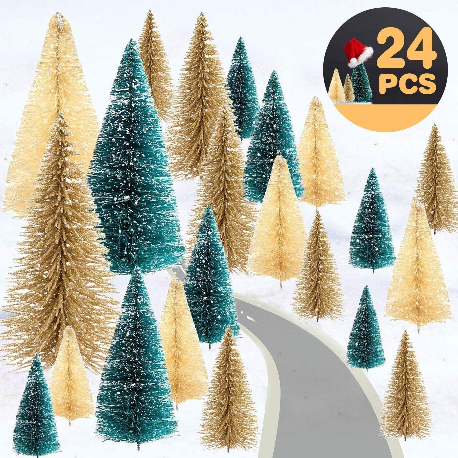 TOPLEE 24 Piece Mini Christmas Trees, Artificial Frosted Sisal Christmas Tree with Wooden Base DIY Crafts Mini Pine Tree for Christmas Party Home Table Top Decor Winter Ornaments