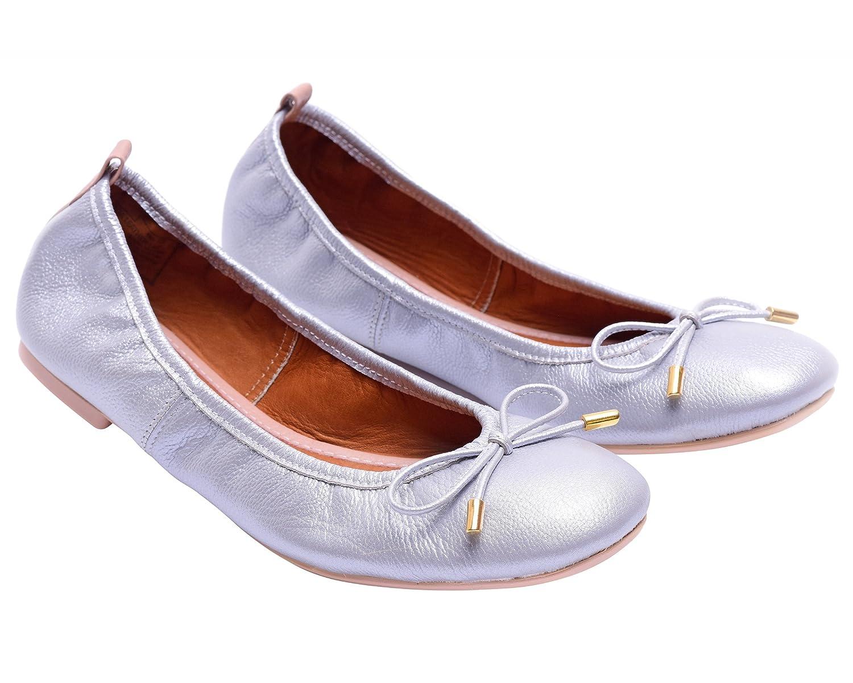 VIDALeather Daily Women Ballerina Colombian Leather Flats   Zapatillas de Mujer B074CH6QLB 8 B(M) US Silver