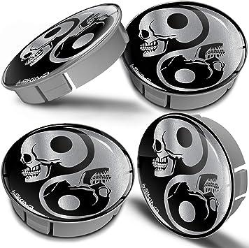 Biomar Labs 4 X 60mm Kunststoff Nabenkappen Kappen Totenkopf Skull Schädel Yin Yang Symbol Silber Felgendeckel Radkappen Radnabendeckel Nabendeckel Auto Tuning Cs 2 Auto