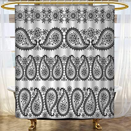 Paisley Shower Curtains 3D Digital Printing Winter Themed Design And Lace Like Ornaments With Flowers