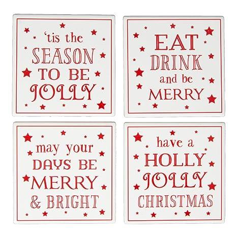 Frasi Di Natale Inglese.Sass Belle Set Di 4 Sottobicchieri In Ceramica Frasi