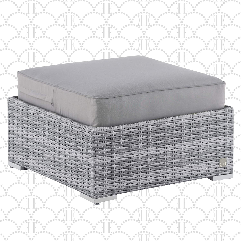 Elle Decor Vallauris Patio Outdoor Furniture Collection Premium All Weather Wicker, Ottoman, Gray