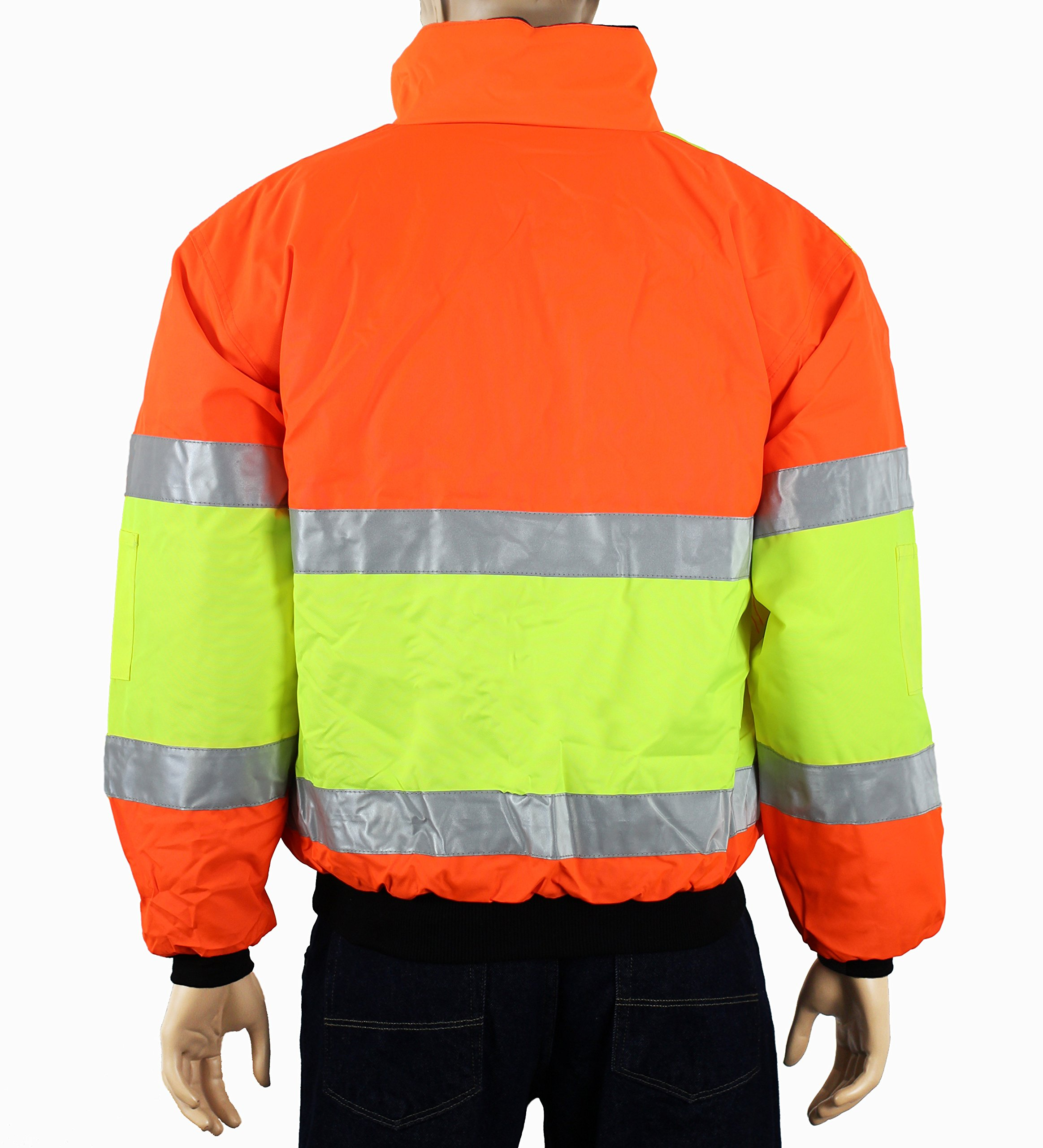 Safety Depot Cold Climate Safety Jacket ANSI Approved Class 3, Reversible, Water Resistant with Pockets (Large) by Safety Depot (Image #3)