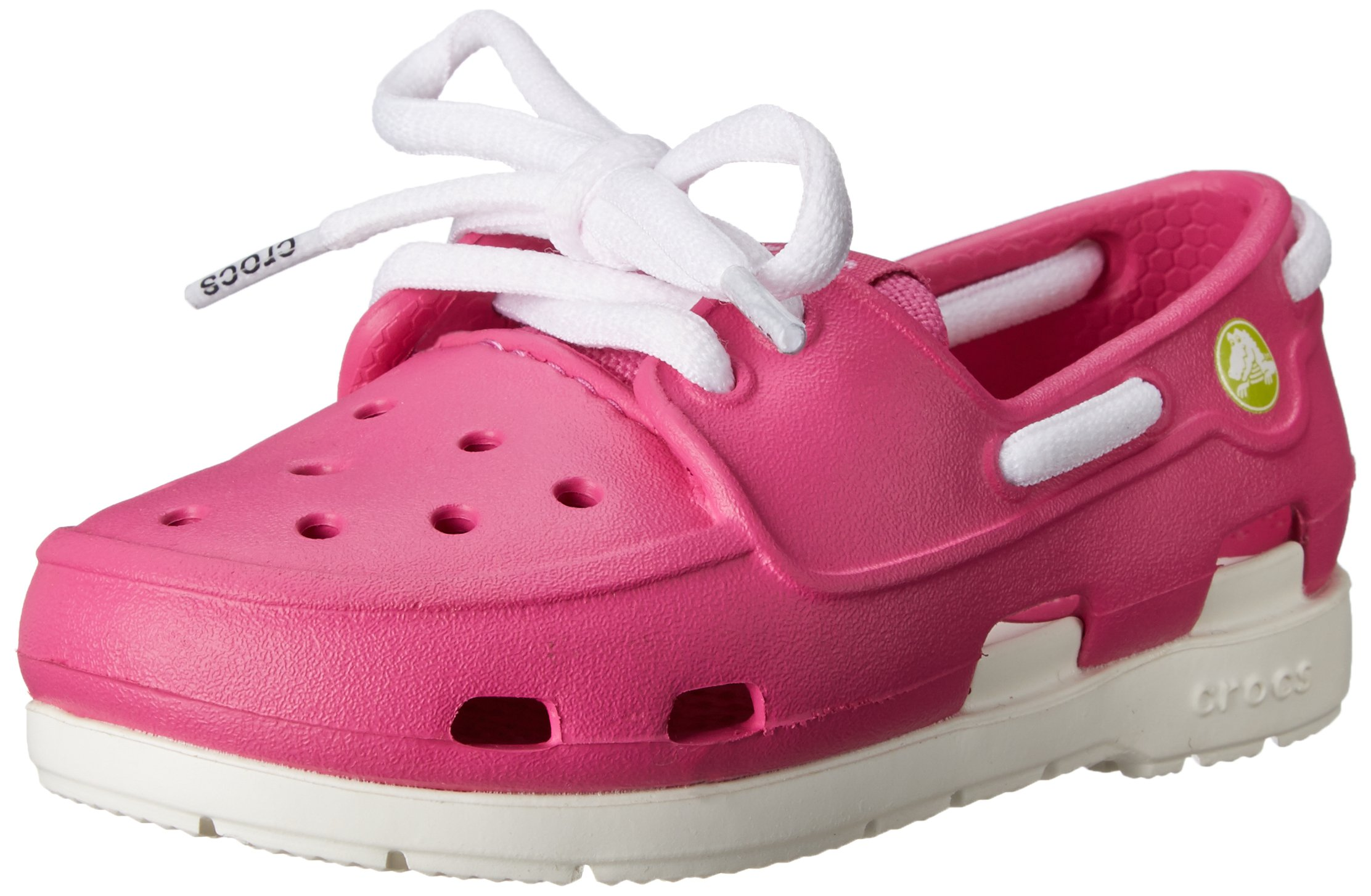 crocs Beach Line Lace PS Boat Shoe (Toddler/Little Kid),Fuchsia/White,7 M US Toddler