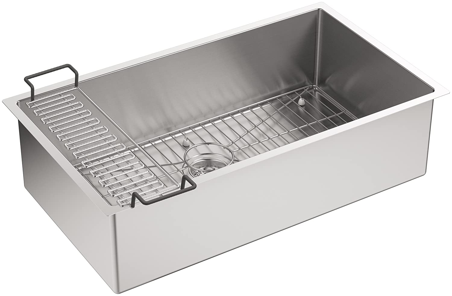 KOHLER K-5285-NA Strive 32 X 18-1/4 X 9-5/16-Inch Under-Mount Single Bowl Kitchen Sink with Basin Rack, Stainless Steel, 1-Pack