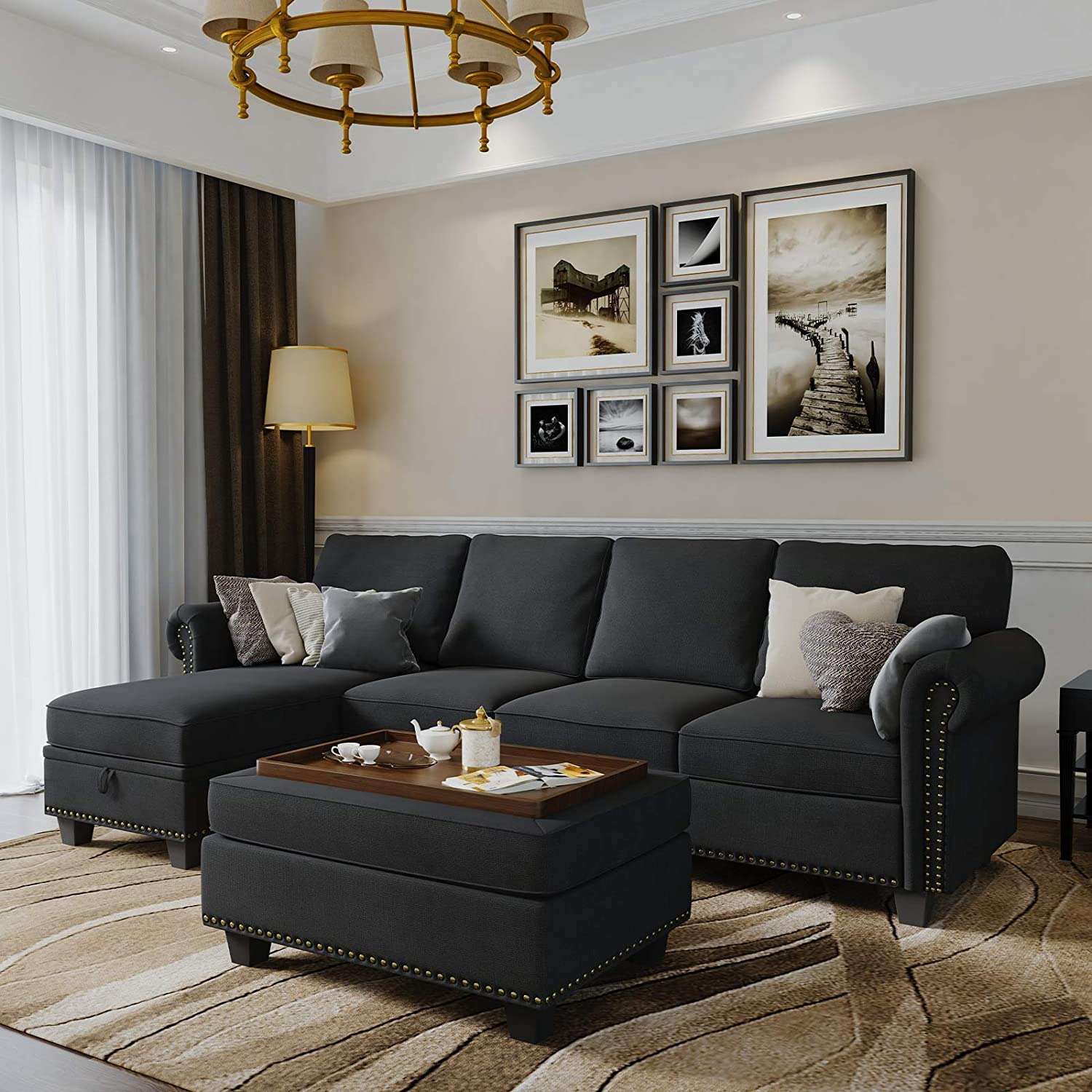 Best Multi-Functional: Nolany L-Shape 4 Seat Sofa With Much Storage.