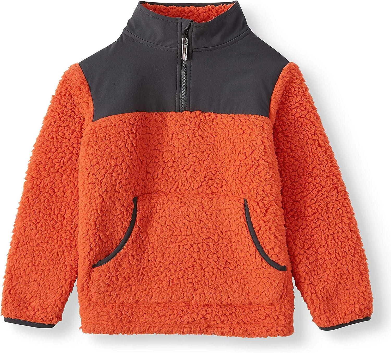 Wonder Nation Girls Quarter Zip Sherpa Pullover