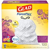 Glad Tall Kitchen Drawstring Trash Bags - OdorShield 13 Gallon White Trash Bag, Gain Moonlight Breeze - 100 Count