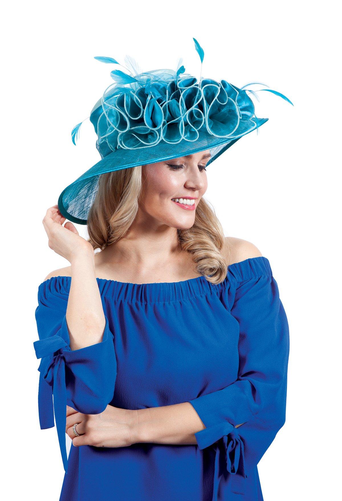 ChicHeadwear Womens Wide Brim Bow Sinamay Fashion Hat - Silver w/Charcoal by ChicHeadwear (Image #2)
