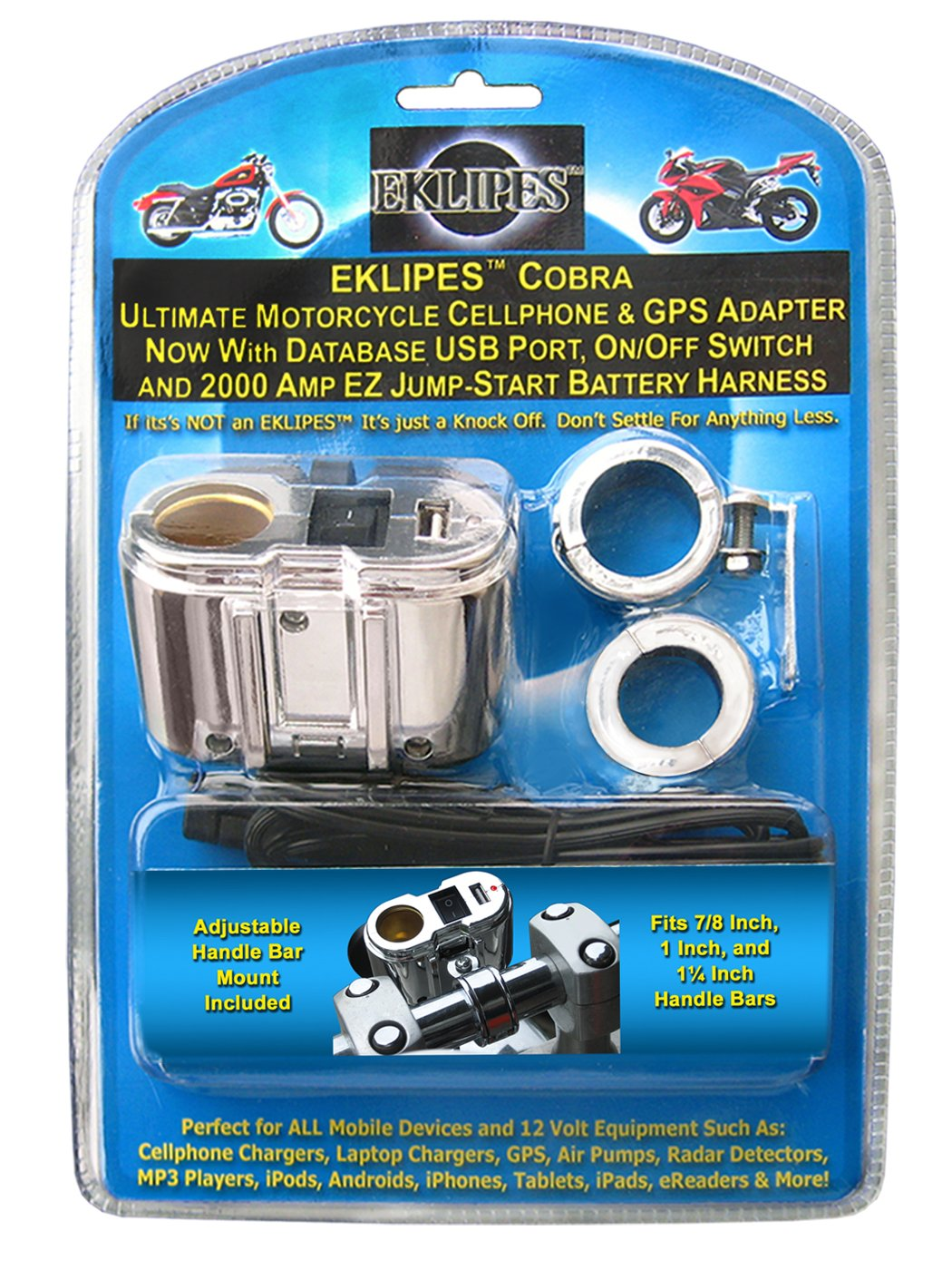EKLIPES EK1-115 Black Universal Bike-2-Bike Jump Start Kit and EK1-110 Chrome Cobra Ultimate Motorcycle USB Charging System Bundle