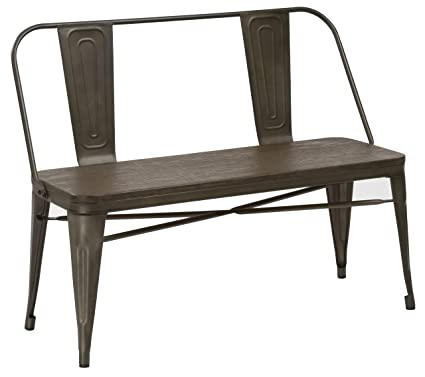 Charmant BTEXPERT Industrial Antique Copper Rustic Steel Frame Distressed Metal  Dining Bench With Full Back Wood Seat