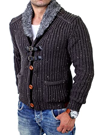 Tazzio Herren Strickjacke Winter Grobstrick Wollkragen Pullover TZ-418  Anthrazit XL