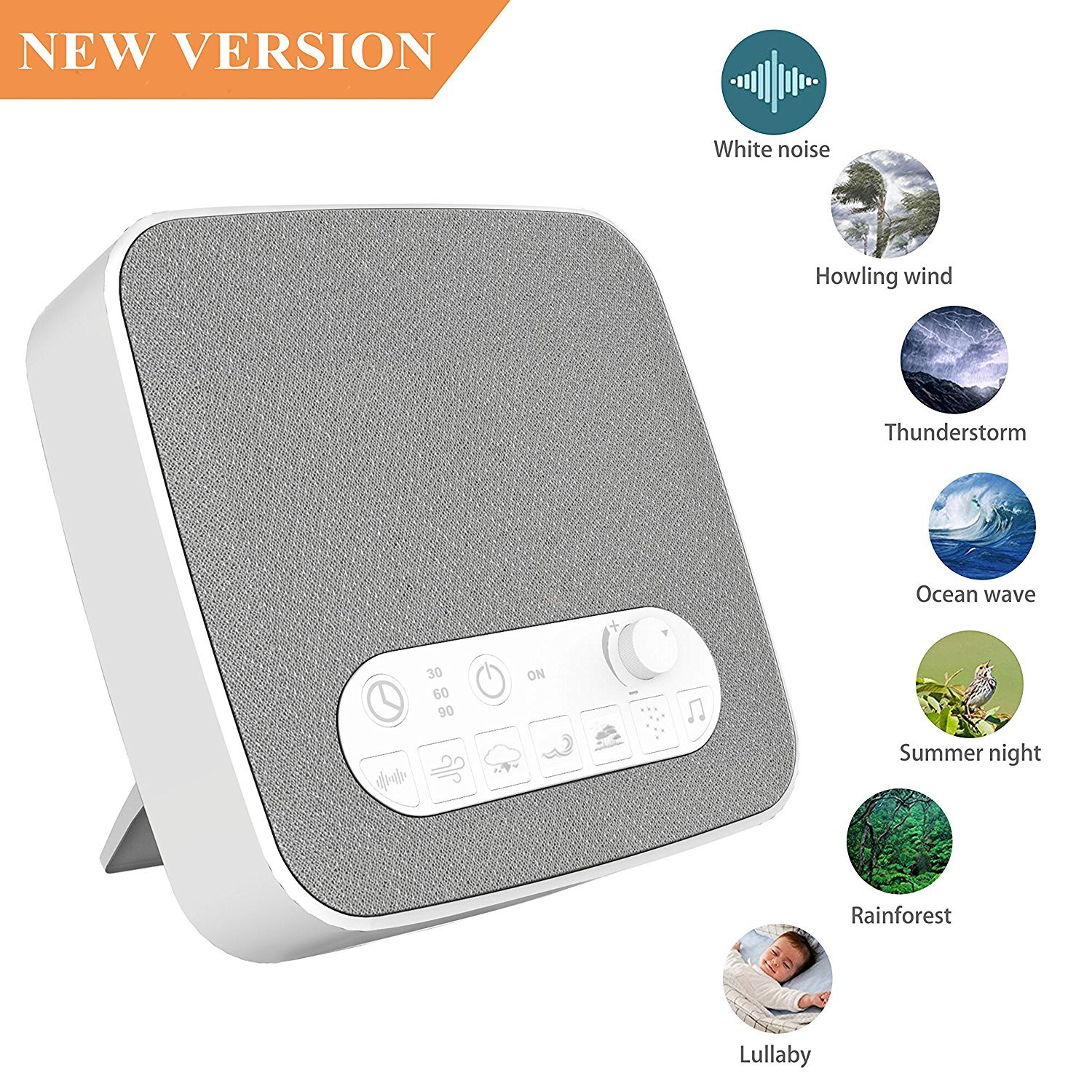 White Noise Machine for Sleeping, BESTHING Sleep Sound Machine with Non-Looping Soothing Sounds for Baby Adult Traveler, Portable for Home Office Travel. Built in USB Output Charger & Timer. by BESTHING (Image #1)