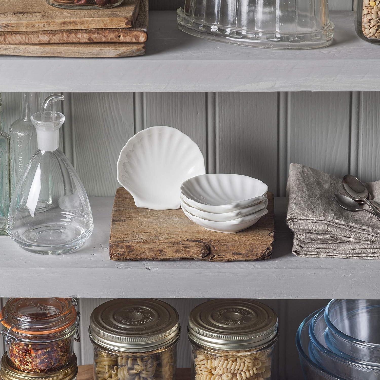 WM TSET112 Bartleet /& ‿Sons 1750 Lot de 4 plats traditionnels en porcelaine Motif coquillage Blanc 10 cm