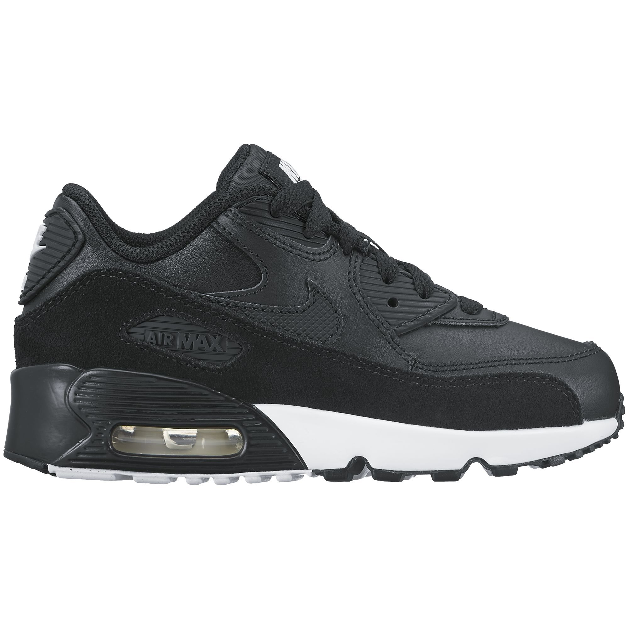 NIKE Air Max 90 LTR Little Kid's Shoes Black/Black/White 833414-014 (10.5 M US) by NIKE