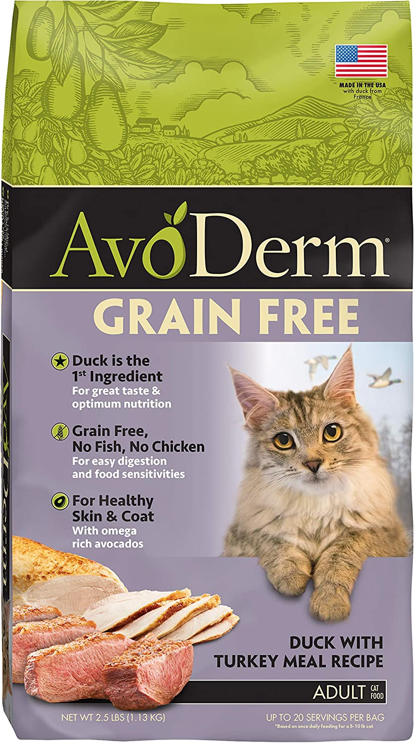 Avoderm Natural Grain-Free Dry Cat Food, All Life Stages Duck Recipe, 2.5 Lb Bag