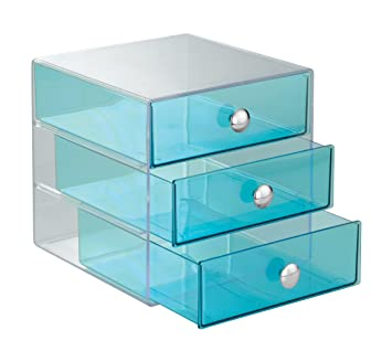 InterDesign 3 Drawer Storage Organizer For Cosmetics, Makeup, Beauty  Products And Office Supplies,