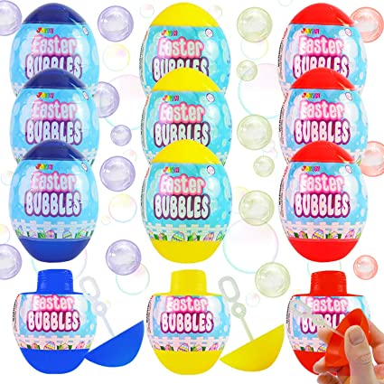 JOYIN 12 Easter Egg Bubble Wands for Easter Eggs Hunt, Easter Basket Stuffers/Fillers, Party Favor, Classroom Prize Supplies, Classroom Rewards, Games, Good Bag Fillers, and More!