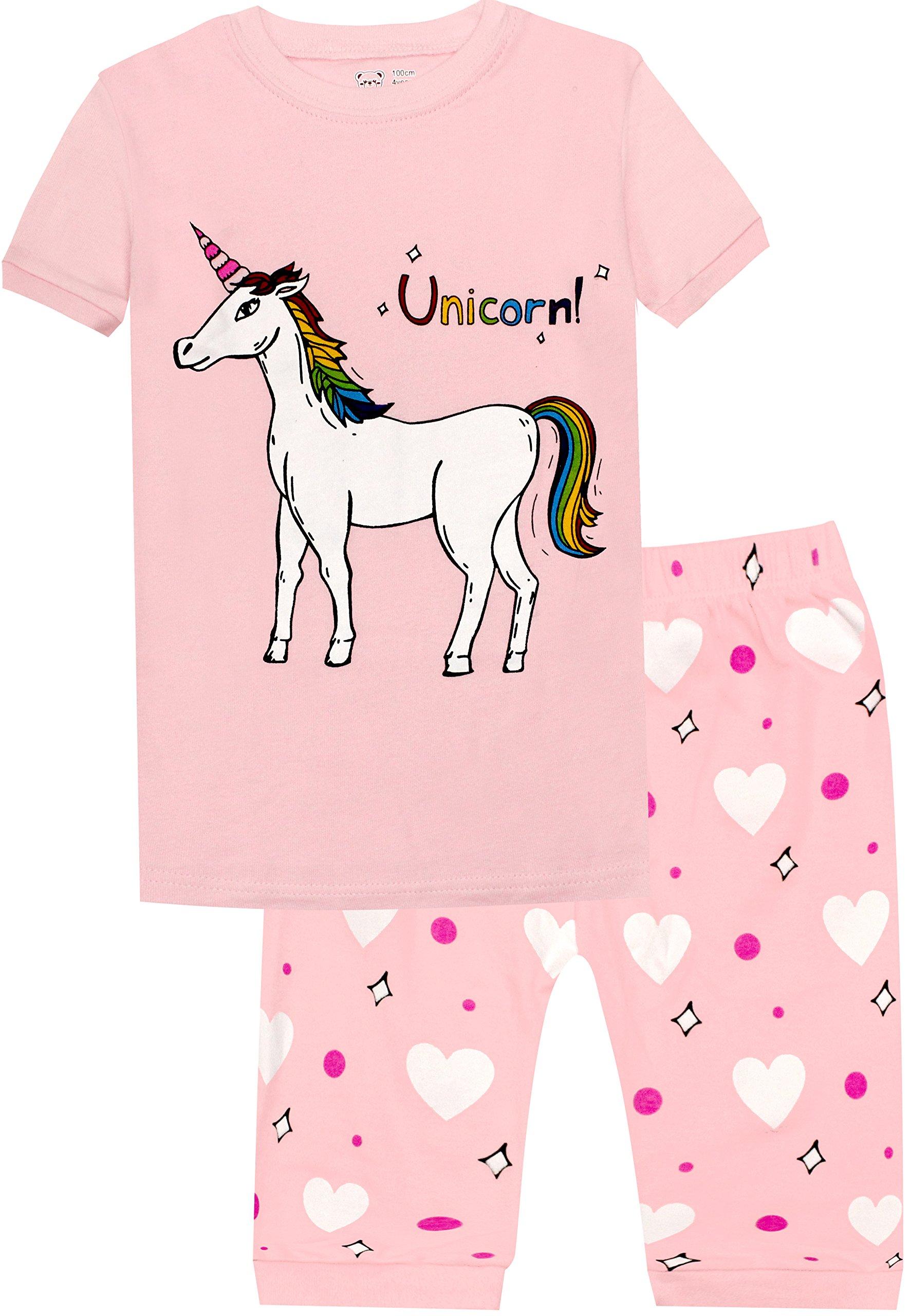 Girls Horse Pajamas Toddler Kids Cotton Sleepwear Children 2 Piece Short Set Size 8 Years