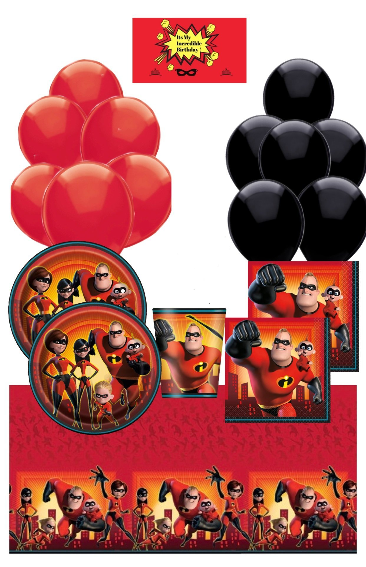 Incredibles 2 Birthday Party Supplies Pack for 16 - Incredibles 2 Table Cover, Plates, Cups, Napkins, Balloons and A Happy Birthday Sticker